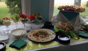 An appetizer table spread in a home party