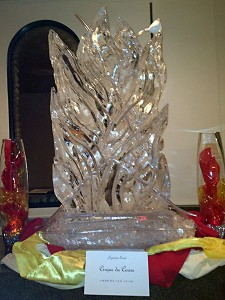 an incredible ice sculpture provided to a catered event